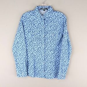 Love Stitch   Blue Leopard Print Button Down - E92